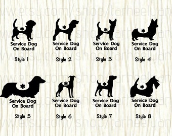 Service Dog On Board Car Decal, Service Dog Decal, Beagle Decal, Chihuahua Decal, Corgi Decal, Dachshund Decal,Greyhound,Jack Russel,Scottie