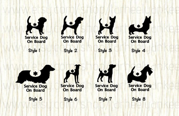 Unique Items similar to Service Dog On Board Car Decal, Service Dog Decal  CN97