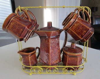 Vintage Ceramic Tea / Coffee Set Made in Japan with Stand