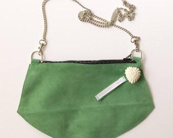 Leather Green Velvet clutch, shoulder or Crossbody purse design door
