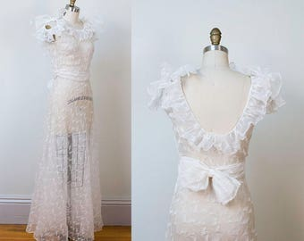 1930s Wedding Dress / 30s White Organdy  Gown