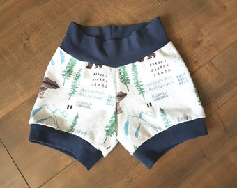 Handmade baby shorts - woodland pattern - ONE OF A Kind - baby apparel - size 12-18 months