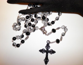 Black & Clear Crackeled Glass Catholic Rosary Beads