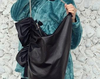 Black Leather Bag, Genuine Leather Handbag, Large Leather Tote, Black Leather Tote TLB04, TEYXO Handbag, Black Shoulderbag