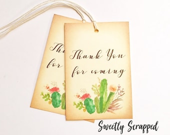 CACTUS Tags, Thank You Tags, Thank You For Coming Tags. Desert Wedding, Boho Wedding, Southwest, Plant Tags, Wedding Tags, Favor Tags, Cacti