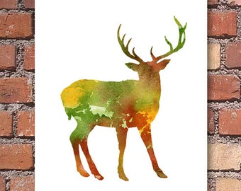 Deer Art Print - Watercolor - Wildlife Abstract Painting - Animal Wall Decor