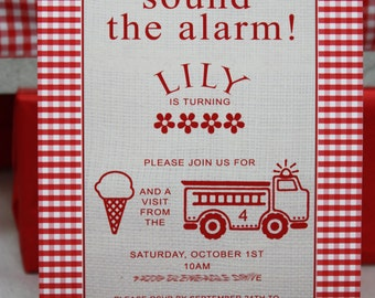 RED FIRETRUCK Printable Party Invitation - Boy or Girl Printing Available