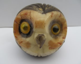 Vintage Paper Weight Carved Stone OWL