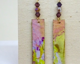 Watercolor Paper Collage Earrings