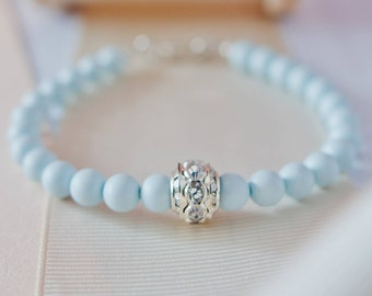Blue Pearl Bracelet, Blue Bridesmaid Bracelet, Blue Wedding Accessories, Blue Wedding, Blue Pearl Jewellery, Pastel Blue Jewellery