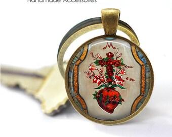 HEART of JESUS Key Ring • Sacred Heart • Flaming Heart • Christian Heart • Catholic Heart • Gift Under 20 • Made in Australia (K417)