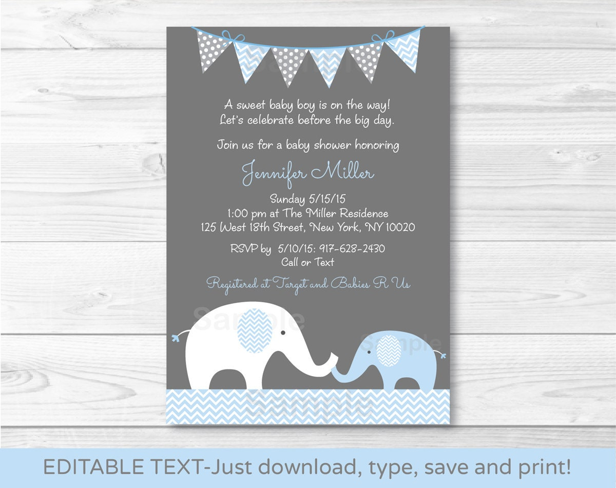 Elephant baby shower invitation elephant baby shower invite zoom filmwisefo Images