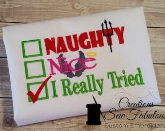 Naughty or Nice Christmas shirt - Boys or Girls Christmas Shirt - Funny Christmas Shirt - Custom Embroidery Shirt - Long Sleeves