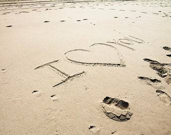 I love you - Heart on the sand. Photographic Print. Valentine's Day.