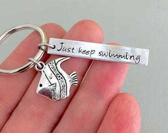 Double Sided Just Keep Swimming Keychain, Motivational Quotes, Inspirational Quotes, Disney Inspired, Swimmer Gift, Cancer Survivor Gift