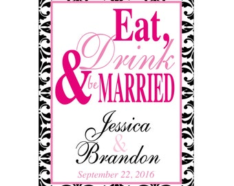 98 - 2x2.67 inch Custom Wedding Rectangle or Mini Wine Bottle Labels - hundreds of designs - change designs to any color, wording etc WN-076