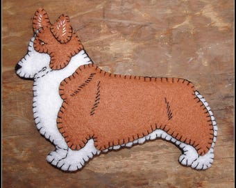 Pembroke Welsh Corgi Ornament-Magnet combo-Handmade-embroidered felt-unique-great doggie gift for any occasion.