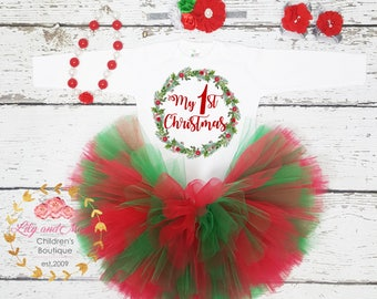 1st Christmas Outfit, Christmas girl outfit, Toddler Christmas tutu set, Christmas baby outfit, Merry Christmas outfit, Christmas bodysuit