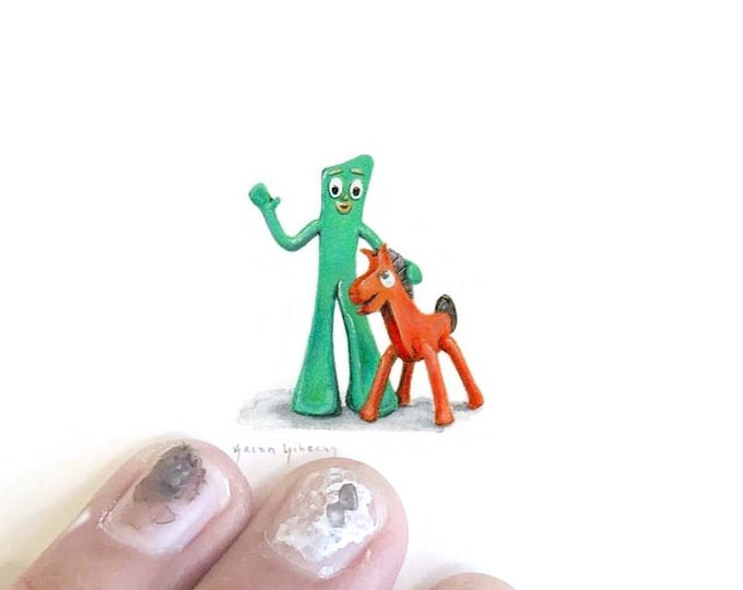 Print of miniature watercolor painting of Gumby and Pokey.  giclee print of watercolor painting of vintage gummy and pokey toy