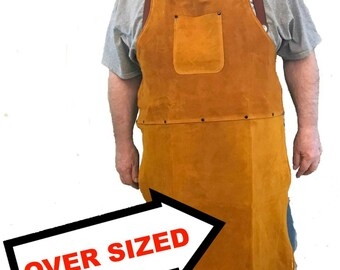 An Oversized Leather Shop Apron / Safety Apparel For Welding, Woodworking, Smithing