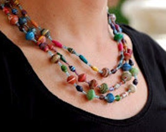 Ugandan Paper Bead Necklace l Gift for Her l Gift for Mom l Unique Gift l Uganda l Pearl of Africa - Valentines Day