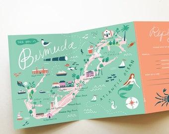 wedding invitation map tri fold invitation bermuda destination wedding any location