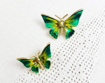 Butterfly Brooches Hand Painted Green Butterflies / Moths with a Gold Tone Finish Vintage Butterfly Pins
