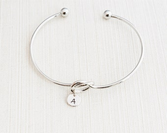 Silver Love knot Bracelet, tie the knot bracelet, Initial Bracelet, Loveknot bracelet, knot bracelet, bridesmaid proposal