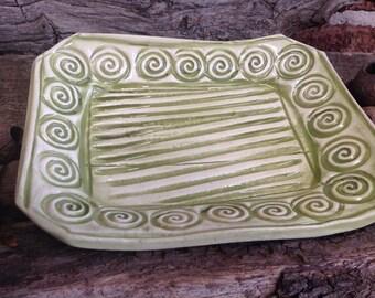 Small Green Ceramic Swirl Plate, Crystal Dish, Trinkets, Soap Dish.