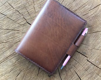 A6 Leather Notebook Cover, Leather Notepad Cover, Leather Journal Cover, Leather Notebook Cover A6, A6 diary cover, Hobonichi Techo A6 cover