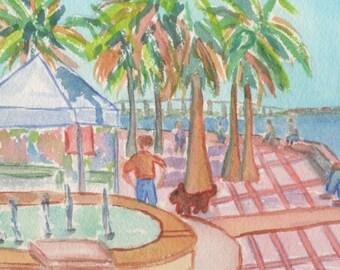"Original Watercolor, ""Marina Square"", 5""x7"" Matted to 8""x10"""