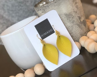 Canary yellow (sm) leather leaf earrings