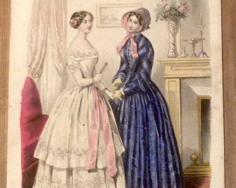 Antique engraving, girls 1849 newspaper, Magazine fashion France