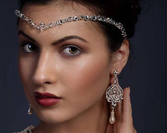 Crystal forehead band - swarovski headdress, bridal accessories, bride hair, front teardrop Swarovski, bride tiara, unique handmade design