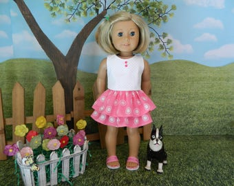 American made Spring or Summer doll skirt and top for American Girl doll or similar 18 inch doll