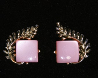 Vintage  Coro Pink Thermoset with Feather / Leaf Clip-On Earrings
