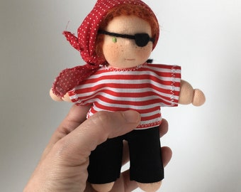 Five inches Waldorf doll, Little Pirate, made of natural materials.