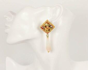 Dangle drop earrings, Stone earrings dangle, Beaded dangle earrings boho, Drop boho earrings, , Mothers day gift, Boho stone jewelry