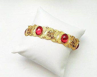 Dragon Ruby Red Bracelet - Handmade original , Plated with 24kt Gold