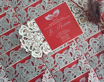 Quinceanera Invitation, Laser cut quinceanera invite silver glitter red - custom Masquerade quinceanera invitation {Liz design: LizSer01}