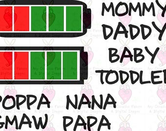 Mommy Daddy Baby Battery svg