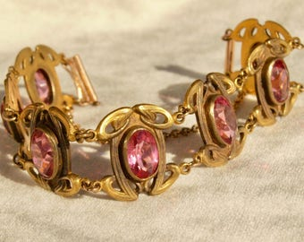 French Art Nouveau Pink Paste Bracelet