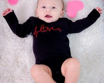 Valentines Day - Baby Girl Valentine - EKG Inspired - Infant Bodysuit - Valentines Day Bodysuit - Love - EKG Love - Babys 1st Valentine