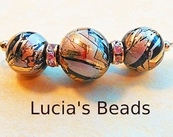 New Size Gold Blush on Black 14 MM and 12 MM  Japanese Tensha Bead Set