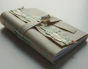 Faux Leather Journal/Notebook - Mint and Yellow Venice Lace