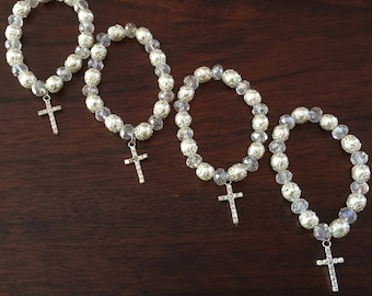 12 Baptism favors bracelets ivory pearls and clear oval rounds wedding favors baptism favors