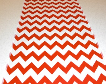 Eco Friendly Red and White Chevron Table Runner