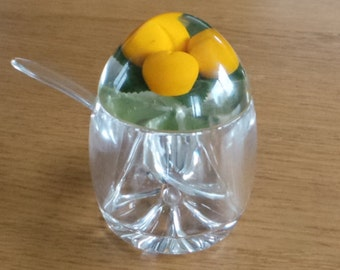 Lucite apricot jam or preserves pot.  Vintage pot with faux fruit suspended in the lid