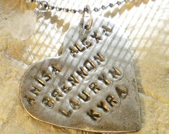 personalized fine silver mothers necklace