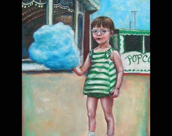 Cotton Candy Carnival Original Painting, 1960's, Boardwalk, Summer, Cat's Eye Glasses, Beach Art, Stripes, Green, Little Girl, Retro